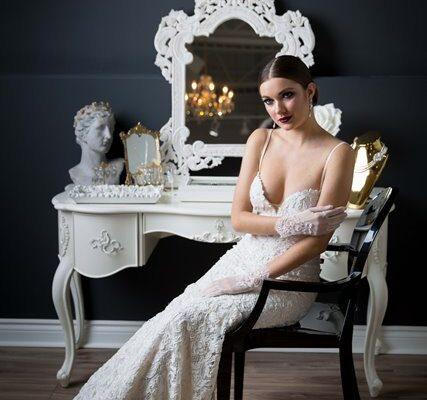 bride sitting at a vanity