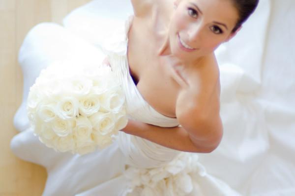 aerial shot of a beautiful bride