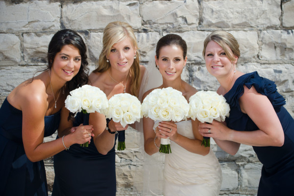 bride and her bridesmaids hair and makeup